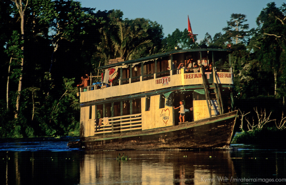 South America, Peru, Amazon River. Local passenger boat.