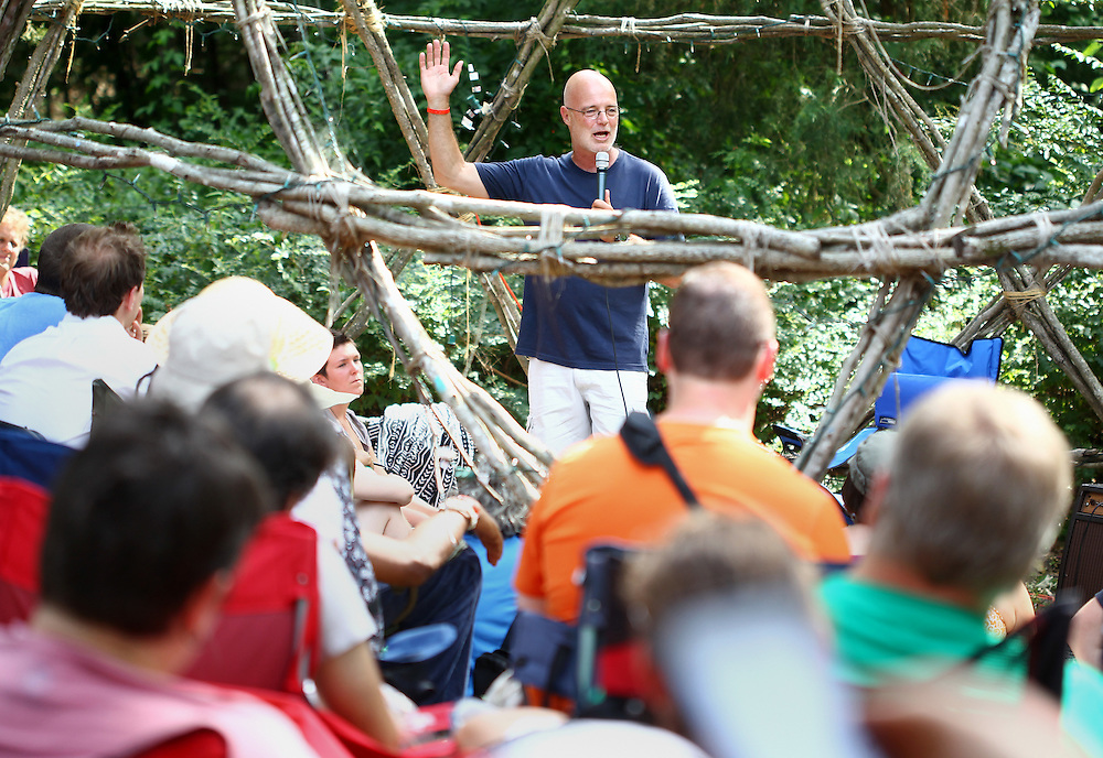 Brian McLaren speaks to a group in the geodesic dome at the Wild Goose Festival at Shakori Hills in North Carolina June 25, 2011.  (Photo by Courtney Perry)