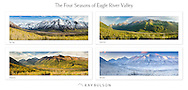 Collage of panoramas of Polar Bear and Eagle Peaks and Hurdygurdy Mountain overlooking Eagle River Valley in Chugach State Park in Southcentral Alaska in spring, summer, autumn, and winter.