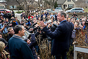 Former Maryland Governor and 2016 Democratic presidential candidate, Martin O'Malley, speaks to potential supporters outside of the home of Judy Anderson and Tom Leffler before canvassing a neighborhood in Johnston, IA on January 31, 2016. O'Malley is in Iowa campaigning in the final days before the Iowa Caucus.<br /> <br /> The Iowa Caucus is the first major electoral event of the nominating process for President of the United States. Both the Democratic and Republican Iowa Caucus will occur on February 1, 2016.
