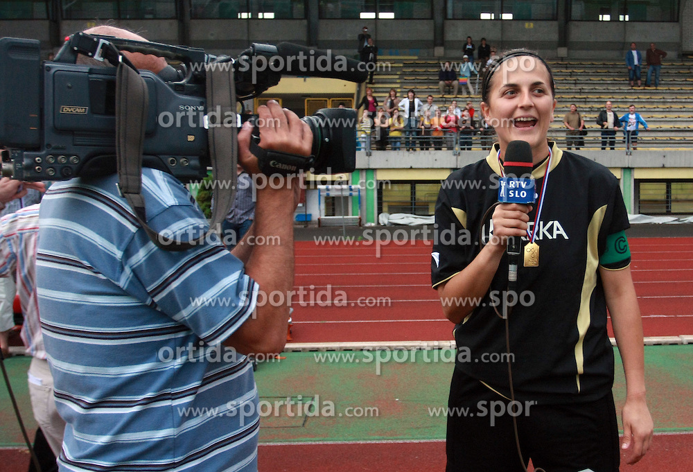 Captain of Krka and goalkeeper Jadranka Knezevic with microphone of national televison RTV Slovenija after final game of NZS women football cup between ZNK Pomurje vs ZNK Krka, on June 4, 2008, at ZAK stadium in Ljubljana, Slovenia. Krka won the match 4:1 and became Slovenian Cup Champion. (Photo by Vid Ponikvar / Sportal Images)
