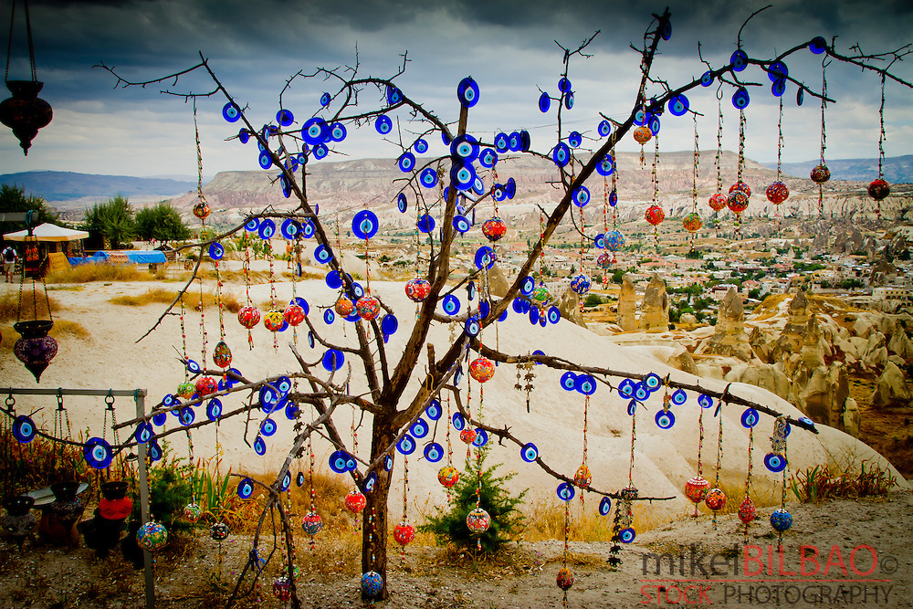 Tree with nazars or Evil eyes for sale. Goreme. Cappadocia Region. Nevsehir province. Turkey.