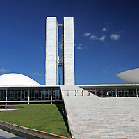 South America, Brazil, Brasilia. Brazil's National Congress buildlings in Brasilia, by architect Oscar Neimeyer, A UNESCO World Heritage Site.