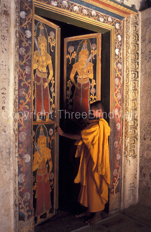 Entrance door to shrine room at a temple near Weligama.