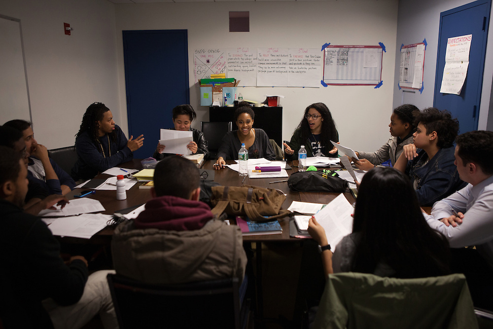 Students from the De Pauw Posse 11, work together during a writing workshop at the Posse Foundation in New York, NY on April 01, 2014. Students in the Posse Foundation are chosen as scholars and go through college prep together as seniors in high school then attend the same college campus together where they get ongoing support. The Posse Foundation has identified, recruited and trained 5,544 public high school students with extraordinary academic and leadership potential to become Posse Scholars over the past 25 years.
