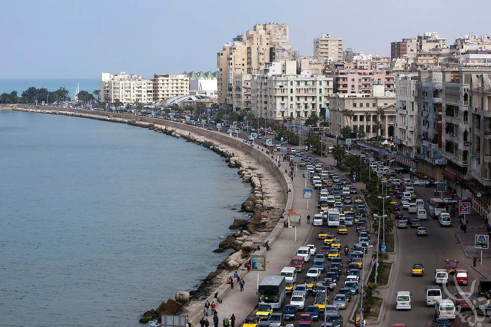 Traffic flows near the site of the now submerged ancient palace complex of Egyptian Queen Cleopatra February 02, 2012 in the harbor of Alexandria, Egypt. Egypt's second largest city, Alexandria is home to a population of 4 million residents. (Photo by Scott Nelson)
