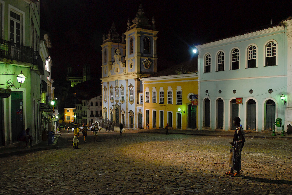 View of landmark world heritage site Pelourinho Square at the brazilian town of Salvador da Bahia.