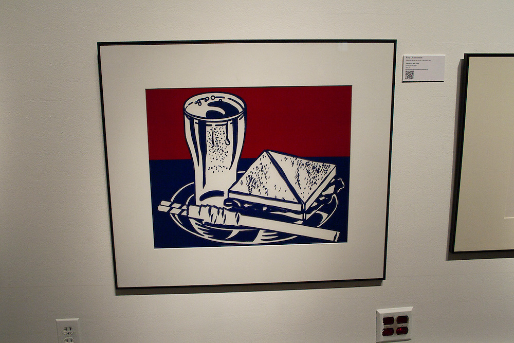 Roy Lichtenstein    <br /> American (New York, N.Y., 1923-1997, New York, N.Y.)<br /> &ldquo;Sandwich and Soda&rdquo;<br /> screenprint on Mylar<br /> 1982.001.040<br /> <br /> Roy Lichtenstein is perhaps the most pop of the pop artists.   His comic strip-inspired images celebrate, criticize and spoof every aspect of American life from soap operas and superheroes to the loftiest realms of high art.  In 1964 when this piece was produced, his work was attracting considerable attention, much of it hostile, for its large scale and precisely painted adaptations of printed mass media ads and publications.  &ldquo;Sandwich and Soda&rdquo; relates to a series focused on simple objects as they might be represented for in-store advertising.  <br /> <br /> http://www.memphis.edu/amum/roy.lichtenstein.php