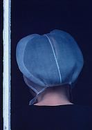 Amish woman Sunday prayer, Intercourse, Pennsylvania, back of head, tight