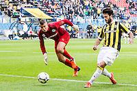 ARNHEM - Vitesse - FC Groningen , Voetbal , Eredivisie, Seizoen 2015/2016 , Gelredome , 03-10-2015 , Vitesse speler Valeri Qazaishvili (r) scoort door de keeper FC Groningen doelman Segio Padt (l) uit te spelen, hij maakt het doelpunt voor de 3-0