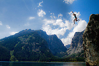 Nothing beats taking a day off by doing a little recreational cliff jumping with a view like Death Canyon in the background! The Tetons in Wyoming hold a very special place in my heart and I have a lot of great memories there.