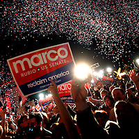 CORAL GABLES, FL -- November 2, 2010 -- Supporters of Republican Senate candidate Marco Rubio celebrate after his win was called at The Biltmore Hotel in the Coral Gables area of Miami, Fla., on the Mid-Term Election Day on Tuesday, November 2, 2010.  Rubio won the three-way race for the seat over Independent Gov. Charlie Crist and Democrat Kendrick Meek.