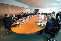 22 MAR 2017, BERLIN/GERMANY:<br /> Uebersicht Kabinettstisch Kabinett Merkel, vor Beginn der Kabinettsitzung, Bundeskanzleramt<br /> IMAGE: 20170322-01-019<br /> KEYWORDS: Kabinett, Sitzung, &Uuml;bersicht