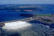 Aerial view of Tucurui Dam on the Tocantins River in the Amazon Region of Brazil (Para State).