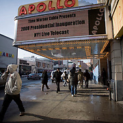 20th January 2009, the inauguration of President Obama..Americans unite in Harlem, New York City, to watch the big screen with hope and joy as the 1st African-American President of USA takes the oath to lead the country through difficult times...Image © Arsineh Houspian/Falcon Photo Agency