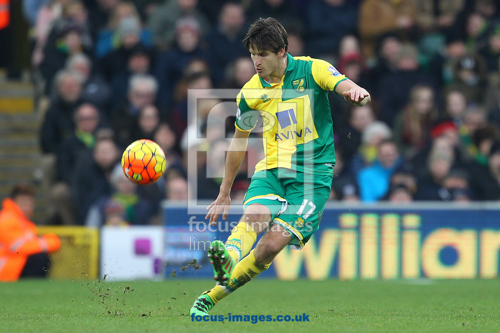 Timm Klose of Norwich in action during the Barclays Premier League match at Carrow Road, Norwich<br /> Picture by Paul Chesterton/Focus Images Ltd +44 7904 640267<br /> 13/02/2016