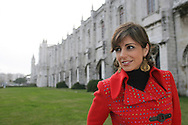 Katia Guerreiro in front of Hieronymus Monastery  (Mosteiro dos Jeronimos) in Lisbon. Fado singer Katia Guerreiro is one of the young singers generation  that are bringing a new strenght to this traditional kind of portuguese music.