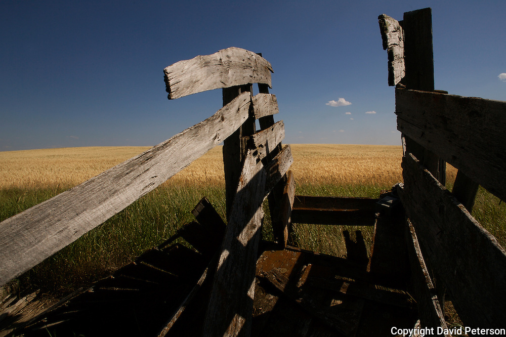 """An old cattle chute recalls the """"old west"""" near Williston, North Dakota.  The northern prairie was the route Lewis & Clark took to the Pacific Ocean in 1804.  photo by David Peterson"""