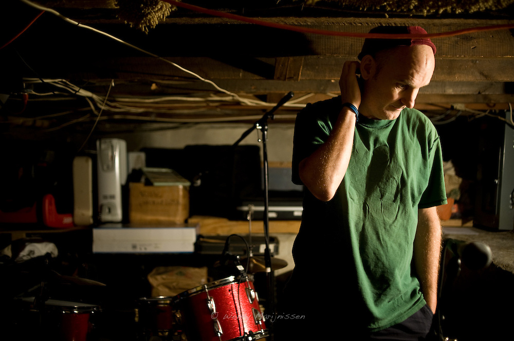 Fugazi's Ian MacKaye in the basement of Dischord house where Fugazi, the Evens and all his other bands rehearse(d). Arlington, Virginia, USA