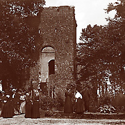 """Vintage Photo, Jamestown, Virginia """"The Colonial Dames"""" at the old church on Jamestown Island on the James River, circa 1900 (before 1907) APVA owned site. Original Photo may have been shot by Col. E. B. Thompson. Site is now part of the Colonial National Historic Site at Jamestown Island, oldest permanent settlement in English North America established in 1607...."""