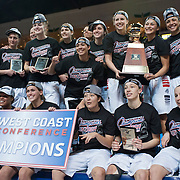 WCC Tournament champions pose with the trophy. (Austin Ilg, for Gonzaga Bulletin)