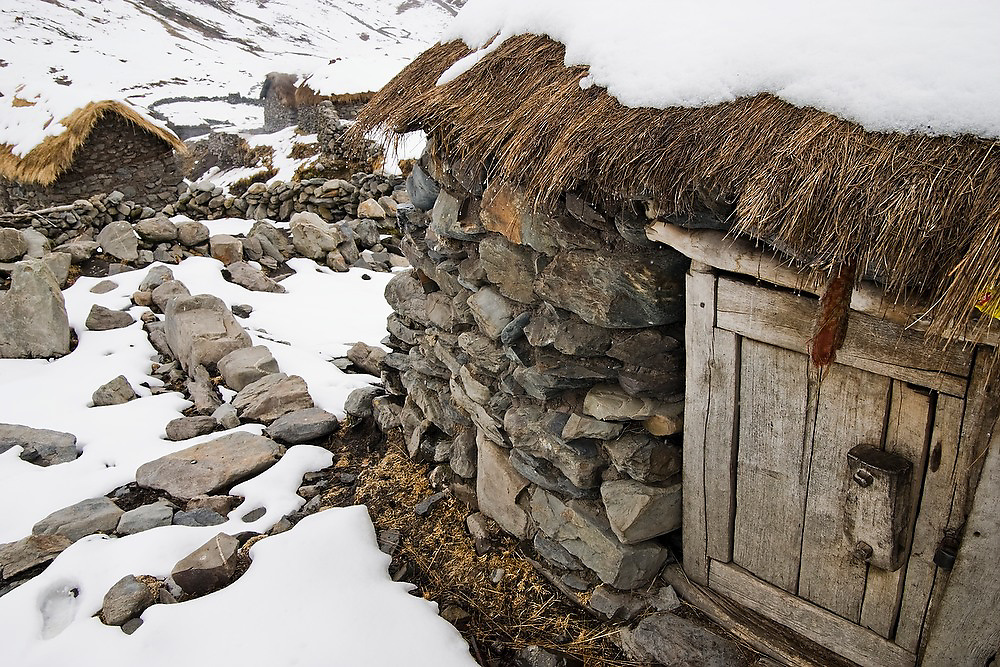 A small wooden door is the entrance to a thatch roof stone hut in the alpaca herding village of the Q'eros people, under snow, in the Cordillera de Paucartambo, Andes Mountains, Peru. The Q'eros, a Quecha people living in the Peruvian Andes, are considered the last direct descendants of the Incas and proudly maintain many of their ancient traditions.