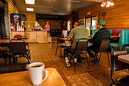Matildas Restaurant, breakfast customers, Fairview Montana, most businesses have seen a decline in business after Bakken Oil bust, now rely on local clients and tourist
