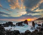 Sunrise at Laupahoehoe Beach Park, Island of Hawaii.