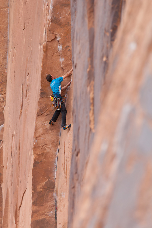 Alastair Mcdowell climbing Astro lad, 5.11a at Wallstreet, Moab, Utah
