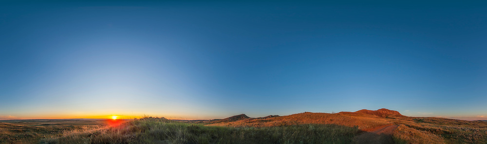 A 360° panorama from horizon to zenith, from Grasslands National Park, Saskatchewan, from the 70 Mile Butte trailhead area, taken August 25, 2014. This is an 8-segment pan, with the 14mm Rokinon lens in portrait orientation, with each segment a 3-exposure HDR stack at 1-stop increments, so 24 images in total. Stitched with PTGui software.