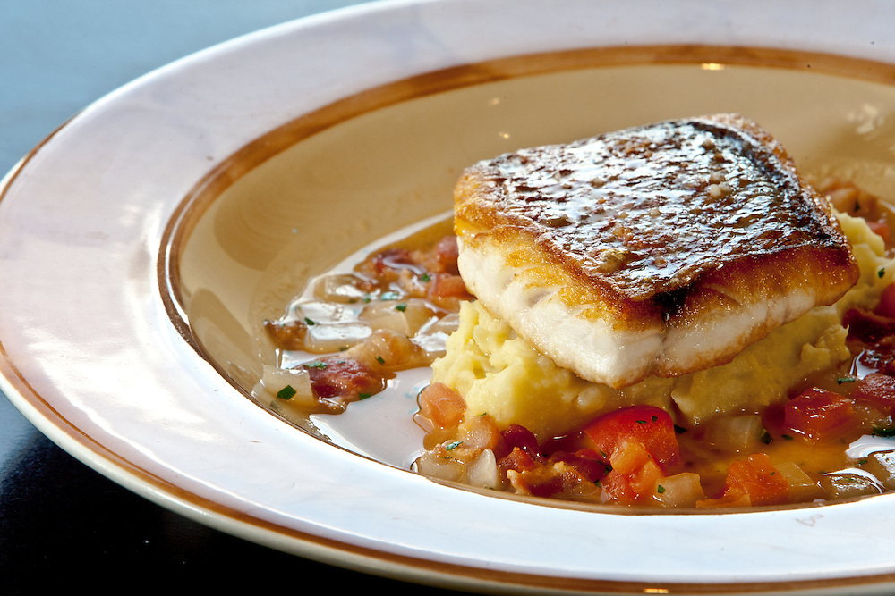 Sautéed Red Snapper with buttermilk mashed potatoes, bacon and Old Bay chowder at Sou'Wester.