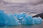 Photograph taken on a cloudy, overcast day in the Tracy Arm Ford Terror Wilderness Area of a series of icebergs floating together near the entrance of South Sawyer.