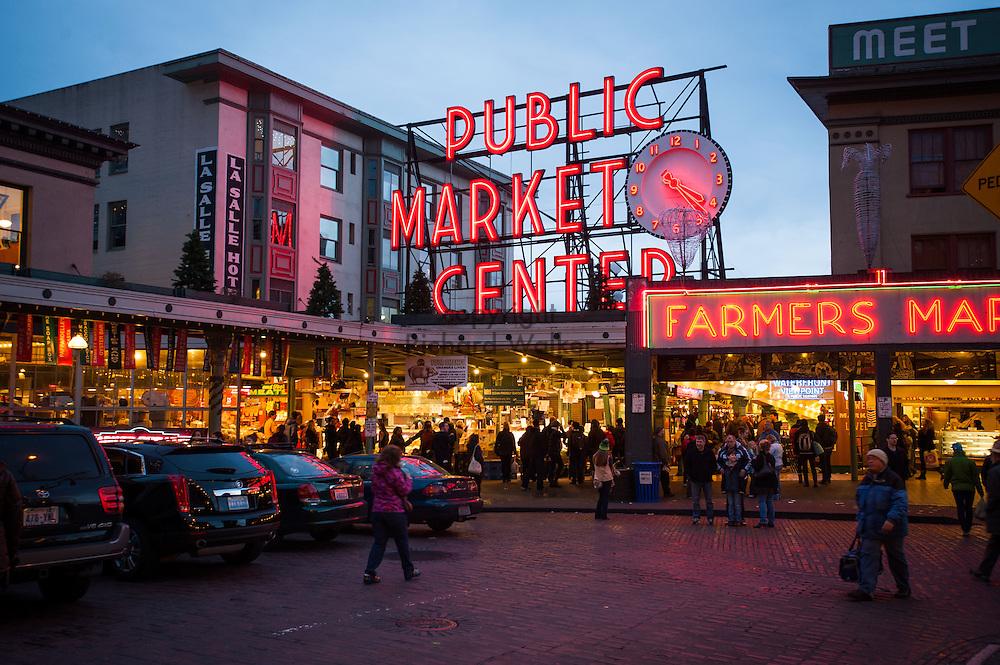 2014 January 02 - Pike Place Market at dusk, Seattle, WA. By Richard Walker