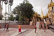 Sports in fromt of Shwedagon Pagoda, Yangon, Myanmar.