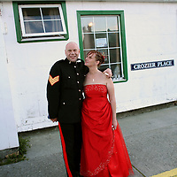 Sgt. Chris Giles, 42, of the British armed forces, and his new wife Trina Bernsten, 37, after their wedding reception that was held at the Globe Tavern, a popular bar in Stanley, the capital of the Falkland Islands, on Saturday, March 17, 2007. This year is the 25 anniversary of the war for sovereignty of the islands between the United Kingdom and Argentina. The two-month war resulted in the withdrawal of Argentinean forces and the islands remained part of the United Kingdom. (Photo/Scott Dalton)