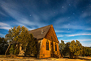 This is a moonlit nightscape of the historic Hearst Church in Pinos Altos, New Mexico, at 7000 feet altitude (thus the name &ldquo;High Pines&rdquo;) and on the Continental Divide. In the sky above, the Big Dipper is at right, and Polaris is at left over the church. <br />