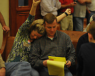 Ashley Roberts (left) celebrates her husband Mike Roberts being elected District 5 supervisor at the Lafayette County Courthouse in Oxford, Miss. on Tuesday, November 8, 2011.