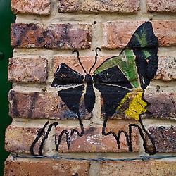 Street art butterfly in Villa de Leyva, Boyacá, Colombia.