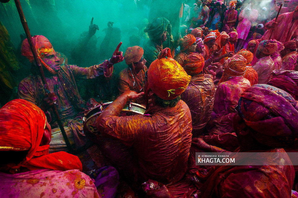 Celebrating the colourful festival of Holi in Nandgaon village in the ancient Braj Bhoomi in Mathura