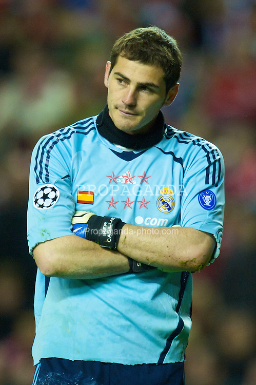 LIVERPOOL, ENGLAND - Tuesday, March 10, 2009: Real Madrid's goalkeeper Iker Casillas looks dejected after conceding four Liverpool goals during the UEFA Champions League First Knockout Round 2nd Leg match at Anfield. (Photo by David Rawcliffe/Propaganda)