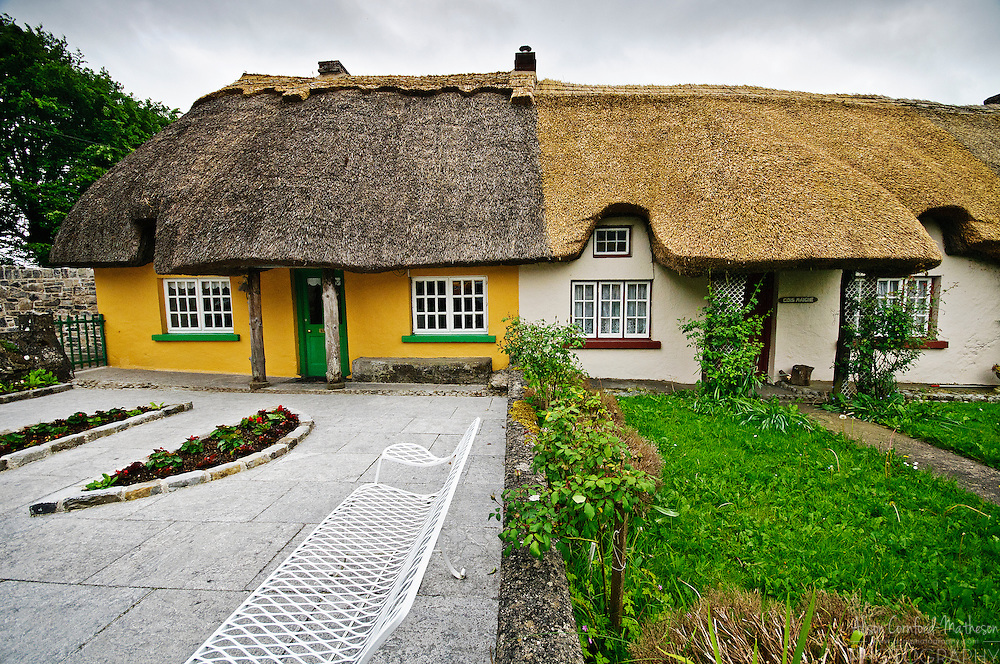 Thatched cottages in Adare, County Limerick in Ireland. Adare is known as Ireland's prettiest village.