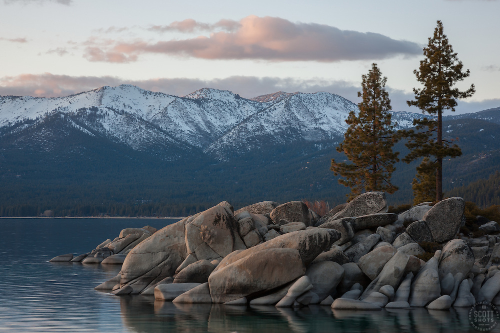 """""""Tahoe Boulders at Sunset 4"""" - These boulders, trees and mountain were photographed during sunset at Sand Harbor, Lake Tahoe."""