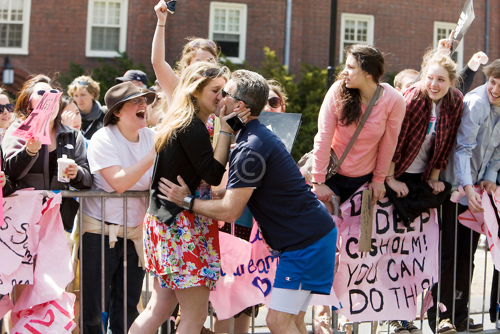 screaming girl gets kissed as on the course at Wellesley College near midpoint of race