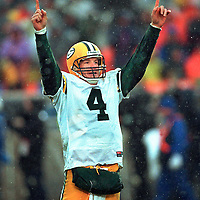 (1999)-Green Bay's Brett Favre celebrates a touchdown pass.