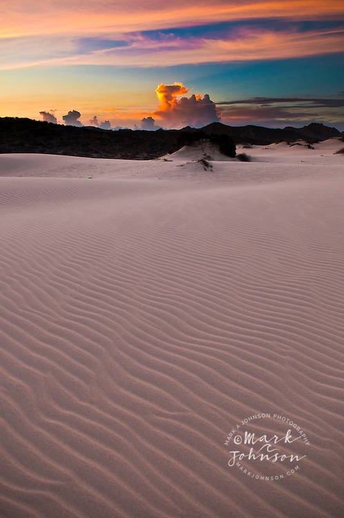 Sand dunes and thunderstorm at dusk, The Dunes, Gulf of California, Baja California Sur, Mexico