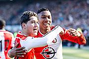 ROTTERDAM  - Feyenoord - PSV , eredivisie , voetbal , Feyenoord stadion de Kuip , seizoen 2014/2015 , 22-03-2015 , Feyenoord speler Anass Achahbar (l) samen met Jean-Paul Boetius (r)