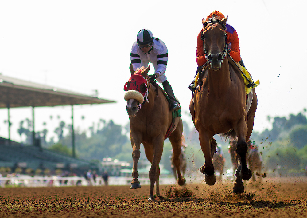 June 13, 2015: Beholder with Gary Stevens aboard defeats Warren's Veneda to win the Adoration Stakes at Santa Anita Park in Arcadia CA. Alex Evers/ESW/CSM
