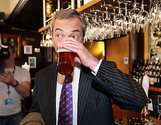 MAY 03 2013 UKIP leader Nigel Farage enjoys a pint after local election success