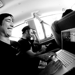 Sid, prepping visuals in the van on the way there.