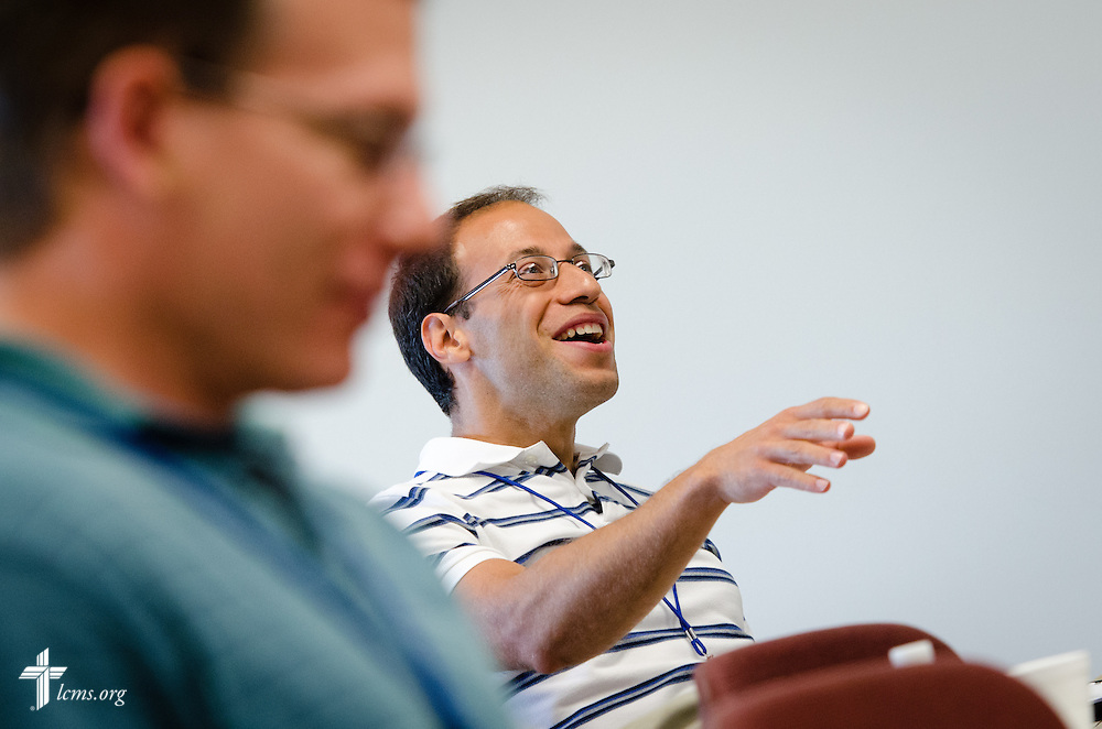 A participant holds a discussion during a workshop at the  2014 Institute on Liturgy, Preaching and Church Music on Tuesday, July 29, 2014, at Concordia University, Nebraska, in Seward, Neb. LCMS Communications/Erik M. Lunsford